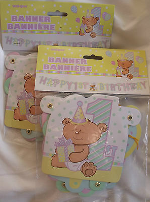 Unique Happy 1st Birthday Bear Banner Jointed Connected Lot 2 Set Banners (Happy 1st Birthday Banner)