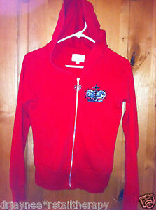 YVETTE-MANDELL-SZ-SMALL-RED-HOODIE-W-BLACK-JEWELED-CROWN-PULL