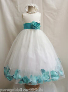 IVORY-TEAL-GREEN-RED-PINK-BROWN-ROSE-PETAL-PAGEANT-WEDDING-FLOWER-GIRL-DRESS