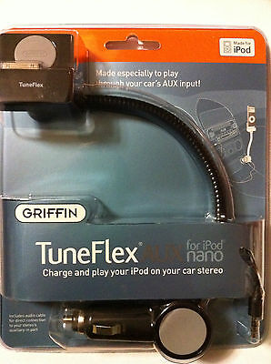 Griffin Tuneflex Aux For Ipod Nano 2nd Gen Car Charger Cradle With Aux Cable