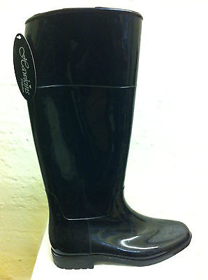 Brand Ladies Black Pvc Wellingtons Boots In Size 8