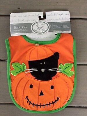 NEW Unsex Boy Girl Baby Halloween Bib Orange Pumpkin Black Cat Cotton Food -