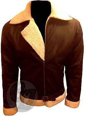 Rocky Balboa Bomber Winter Kostüm Echtes Rindleder Jacke Mantel Stylisch Pelz