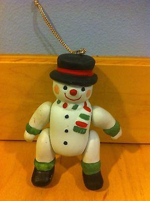 Vintage Moveable Arms & Legs Ceramic Snowman Ornament Taiwan L-75 *