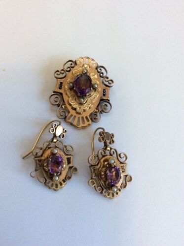Antique Victorian Gold Filled Amethyst & Pearl Dangle  Earrings & Pin Set