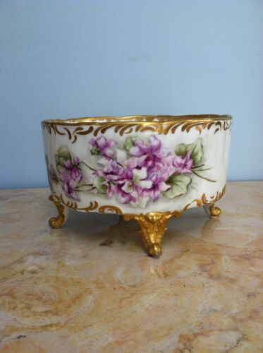 Beautiful Antique Limoges Jardiniere with Violets, Gold, 1894-1900