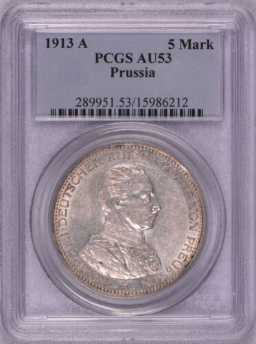 PCGS graded 1913 A Germany Prussia 5M Marks Silver Coin AU-53 FUNF MARK