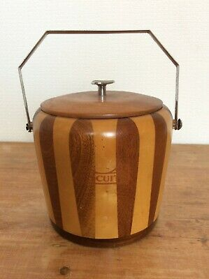 VINTAGE /RETRO wooden Biscuit Barrel with liner