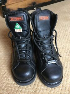 Harley-Davidson Leather Black Zippered Boots Size 7 Steel Toed