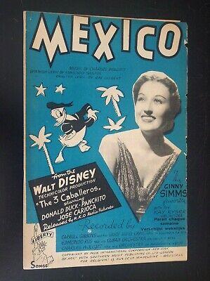 Ancienne partition Illustrée Donald Mexico