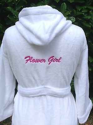 Flower girl dressing gown personalised bridesmaid robe fleece script font - Pageant Robes