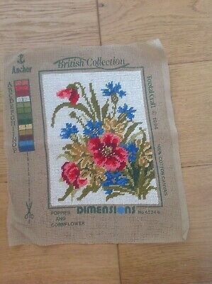 Vintage Embroidery British Collection Tapestry Needlepoint *Poppies Cornflower*