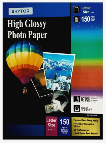 """Skytor Photo Paper Glossy Inkjet 8.5""""x11"""" Letter Size 150 sheets 110gsm (actual)"""