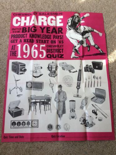 1965 Chevrolet  district Quiz  original dealership showroom poster