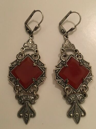 Vintage Silver Red Glass Art Deco French Back Pierced Earrings 2""