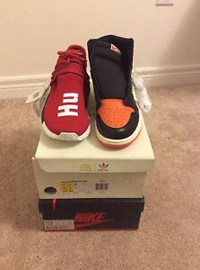 Jordan 1 shattered backboard and red nmd human race