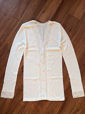Trim Knit Cardigan (Gabriella Knight Lace Trim Fine Knit Thermal Cardigan Size- 2  UK-12)