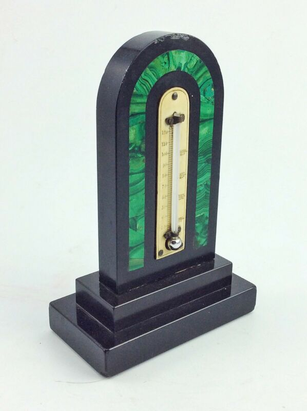 Antique Victorian marble thermometer with Malachite inlay