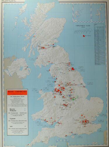 VINTAGE LARGE MAP of BRITAIN BASIC CHEMICA BARYTES WITHERITE GYPSUM SALT