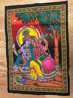 Radha Krishna Swing Painting Fabric Tapestry God Hindu India Sequins free Ship