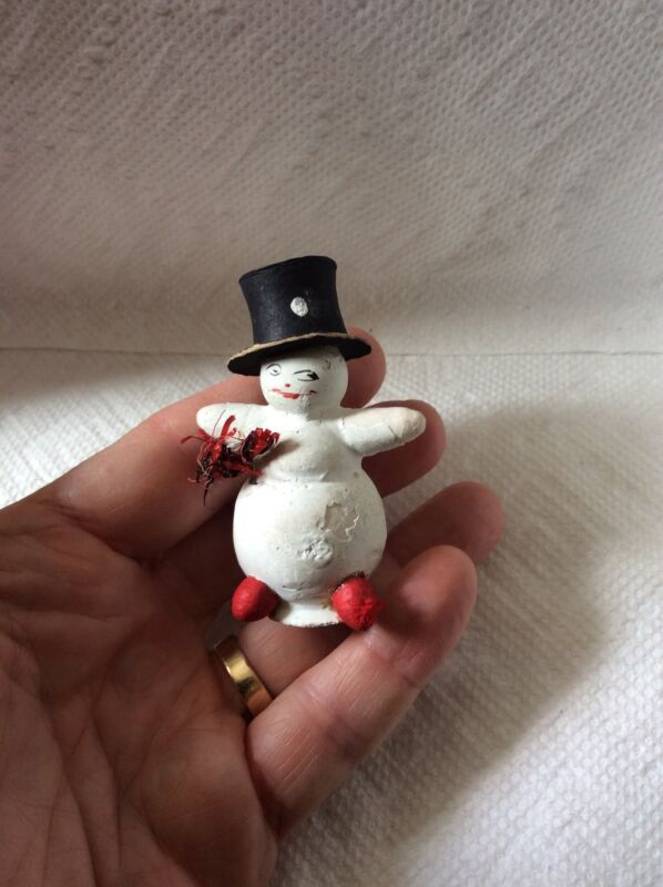 OLD GERMAN CHRISTMAS SNOWMAN IN TOP HAT