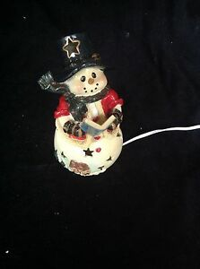 CERAMIC LIGHTED SNOWMAN- REDUCED