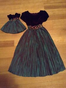 Matching Child's & Doll Dress with Velvet Bodice & Taffeta Skirt