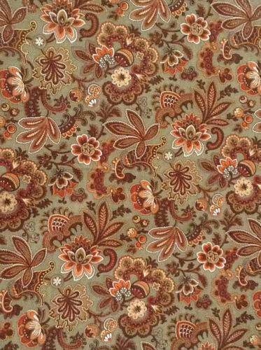 Antique French floral fabric cotton cretonne unused yardage upholstery 19th c.