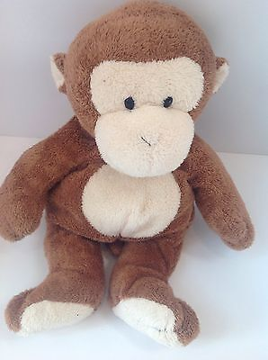 Ty Pluffies Brown Monkey DANGLES Baby Lovey Stuffed Toy Hard Eyes Plush