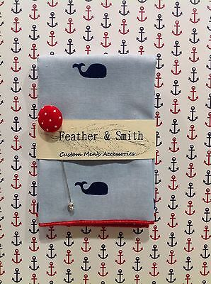 NEW Pocket Square Whales w/ Lapel Pin Polka Dots Reversible Handkerchief Gift