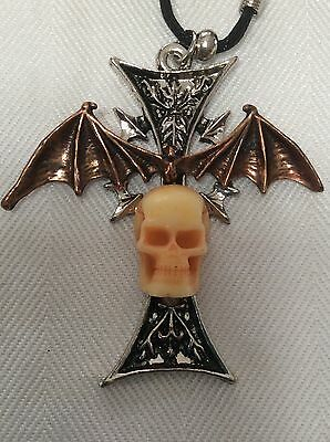 Gothic Midieval Wings Cross Skull Pendant Necklace