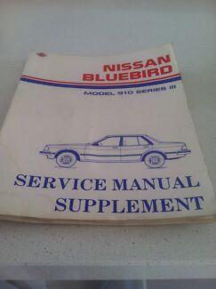 Nissan Bluebird 1985 Service Manual Supplement Model 910Series 111
