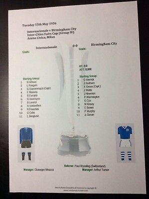 1955 Internazionale Milan v Birmingham City Inter-Cities Fairs Cup matchsheet