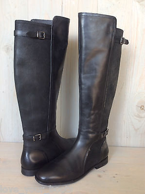 UGG DANAE BLACK LEATHER TALL RIDING BOOTS WOMENS US 9 new
