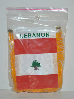 "Mini Banner LEBANON  w/Brass Staff and Suction Cup, 2 sides 3""x5"" New, Sealed"