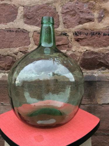 ref325 Green Glass french Demijohn bottle carboy dame Jeanne