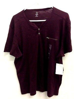 Split-neck T-shirt (International Concepts Men's Split-Neck T-shirt, Burgundy, XL)