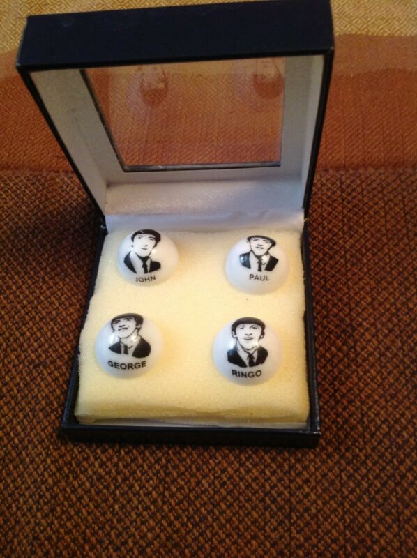 """Vintage Set of 4 The Beatles Collectible Glass 1"""" Logo Marbles"""