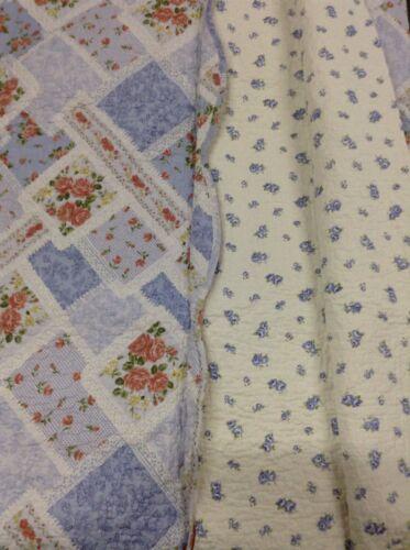 100% cotton Queen Size 3pcs Blue Peach Floral Quilt Set-Reve