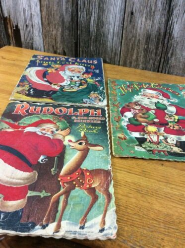 3 vintage Christmas oversized books one flocked 1950s