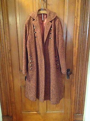 Vintage 1940-60's Swansdown Womens Wool Coat Orangey Brown Black Tweed