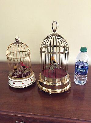 Rare two Antique German Singing Bird Cage Automaton Music Box