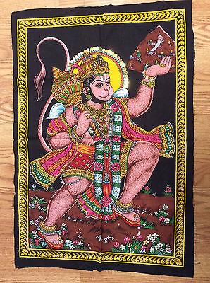 Hanuman  Painting Fabric Tapestry Monkey God Hindu India Sequins free Shipping
