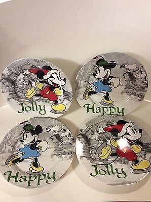 "4 Disney Christmas ""Mickey's Vintage Holiday"" Plates 8"" Mickey, Minnie Mouse EUC"
