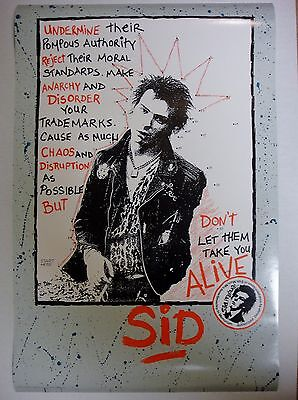 "Sid Vicious Poster ""Don't Let Them Take You Alive"" 1987 Vintage Sex Pistols"