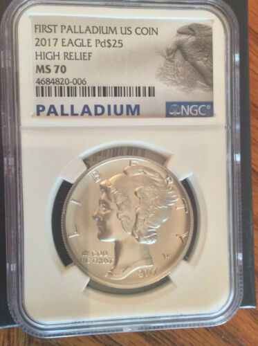 2017 American Palladium Eagle High Relief 1 oz $25 - NGC MS-70