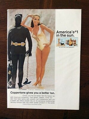1969 vintage Original color ad Coppertone Suntan Lotion featuring Julie Newmar