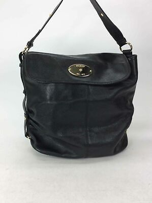 Mulberry Black Pebbled Leather Flap Shoulder Bag