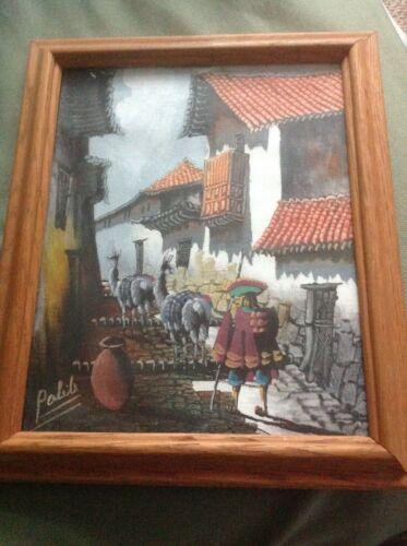 Rare Art Original Painting Signed Pabib Llama Herder Peru Village City Street A1