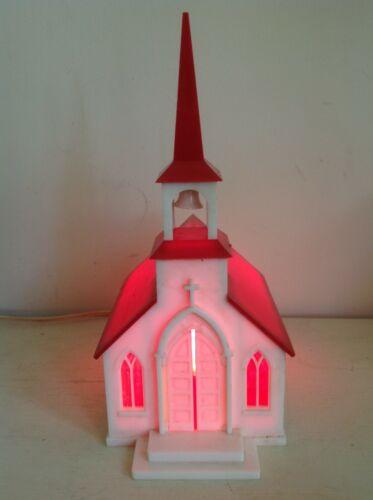 VINTAGE 40s MUSICAL LIGHT UP HARD PLASTIC CHICAGO BUSH STEEPLE CHRISTMAS CHURCH